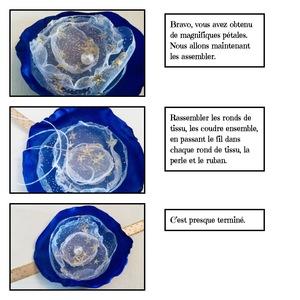 Création fleur tissu or
