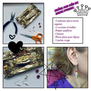 Création boucles d'oreilles avec des papiers de chocolats